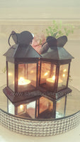 Traditional 2x13cm Black Iron Tealight Lanterns