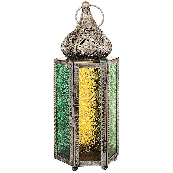 Arabian Moroccan Lantern Vintage Copper Effect Yellow Green Glass Minaret Dome