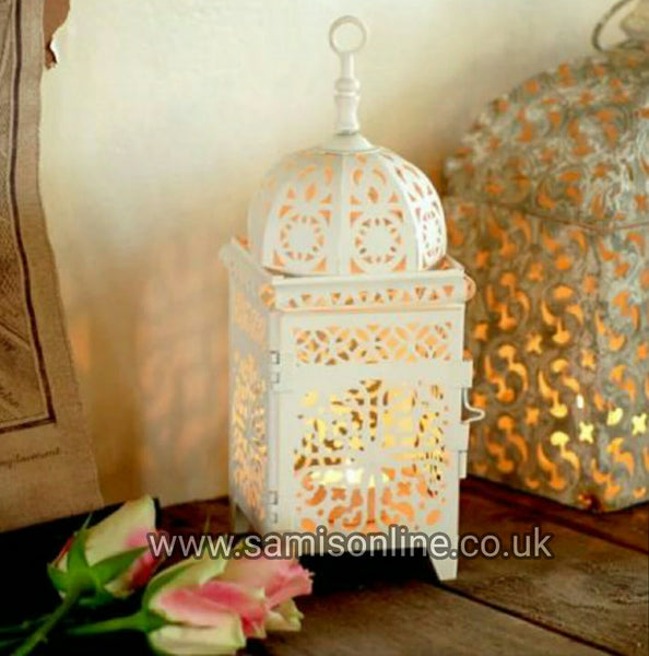 Vintage Traditional Ornate Moroccan Cream White Candle Lantern Table Top