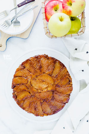 Fresh Apples caramelized with brown sugar and butter make this Gluten Free Apple Upside-Down Cake an irresistible dessert!