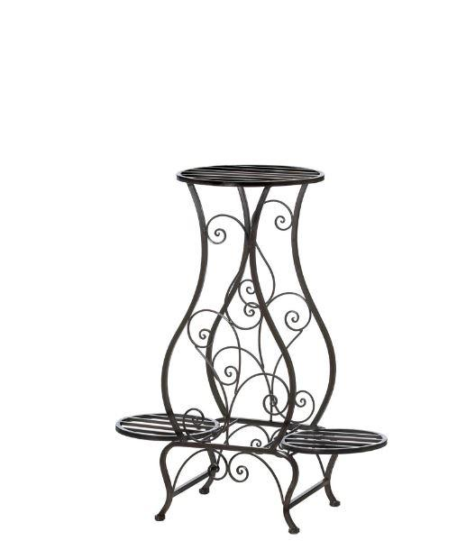 Triple Hourglass Plant Stand Shelf Storage Black Wrought Iron Three Vase  Home Accent