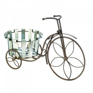 Galvanized Bucket Bike Plant Stand
