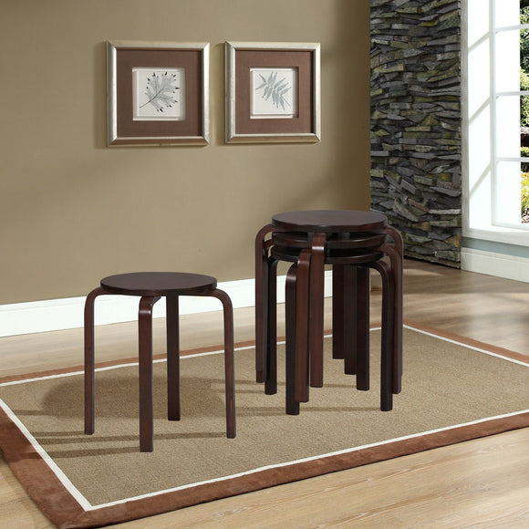 Bentwood Multifunctional Stackable Stools - Wenge, Set of 4