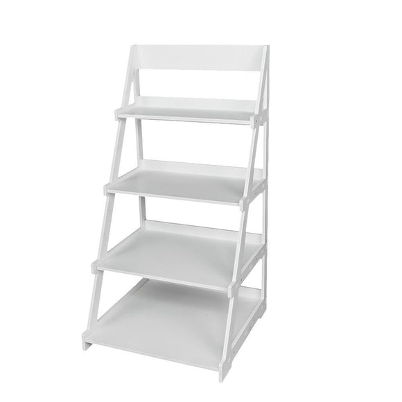 Wood Plastic 4-Tier Ladder Style Shelf Plant Stand White