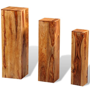 3 Solid Sheesham Wood Plant Stands