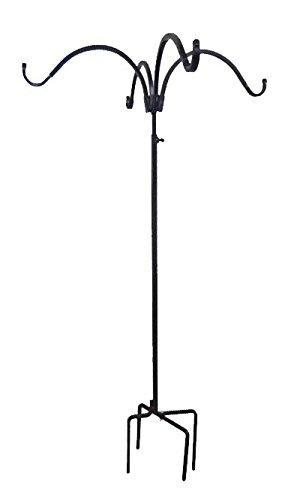Erva Adjustable Four Hanger Shepherd Hook, Black, 4.5' to 7'