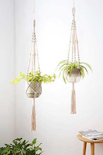 Plant Hangers Indoor Outdoor Hanging Planter Basket Cotton Rope with Beads 4 Legs 41 Inch
