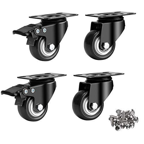 2  Swivel Caster Wheels With Safety Dual Locking &Amp; Heavy Duty Polyurethane Pu No Noise Wheels, With 360 Degree Top Plate &Amp; Bearing Heavy Duty (2 With Brakes &Amp; 2 Without) Black W/ 16 Screws