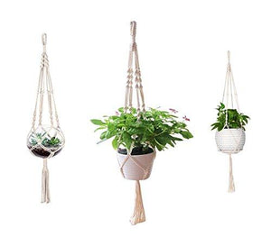 3 Pack Macrame Plant Hanger Indoor Outdoor Hanging Plant Holder Hanging Planter Stand Flower Pots for Decorations - Cotton Rope, 4 Legs, 3 Sizes
