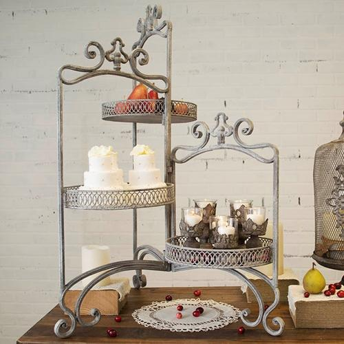 Metal Dessert Stand, 3 Tier, 10.25 in. Dia., Distressed Vintage Gray
