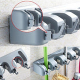 Kitchen mop broom holder wall mounted garden tool organizer space saving storage rack hanger with 5 position with 6 hooks strong grip holds up to 11 tools for kitchen garden and garage