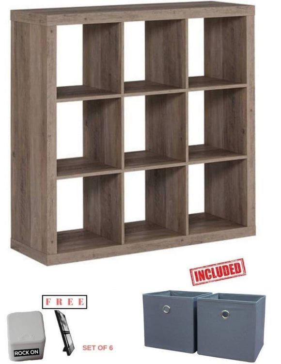 Discover the best better homes and gardens 9 cube organizer storage bookcase bookshelf rustic gray finish with set of 2 bins included and extra free