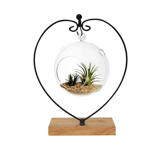Awesomes Air Plant Stand/Flower Pot Stand Holder Iron Pothook Stand for Hanging Glass Terrarium (Heart1)