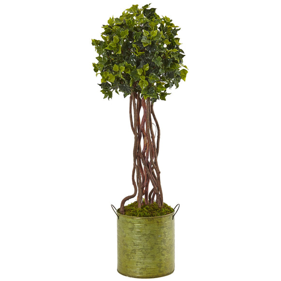 2.5' English Ivy Tree in Metal Planter UV Resistant (Indoor/Outdoor)