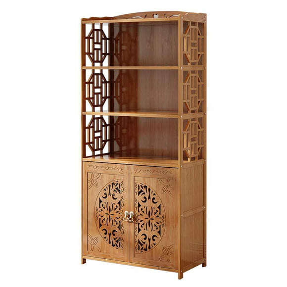 DULPLAY Wood en Bookcase with Doors,Thickened Floor-Standing Orchard Hills Library Easy Assembly Multifunctional Tall Bookshelf Storage Rack for Home -C 69x30x164cm(27x12x65inch)