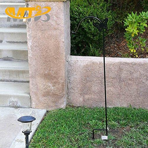 MTB Shepherd Hook 64 Inch Butterfly Style Black Strong Rust Resistant Steel Ideal for Hanging Planter, Bird Feeders, Lanterns, Solar Lights, Mason Jars,Hummingbird Feeder Hanger.Shepherds Hook 2 Pack