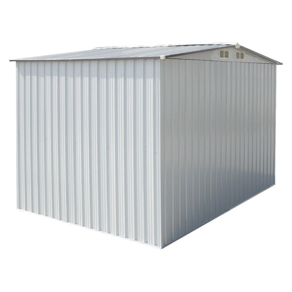 Shop ainfox 8x8 storage shed with foundation kit outdoor steel toolsheds storage floor frame kit utility garden backyard lawn warm white 8x8 storage shed with floor base kit