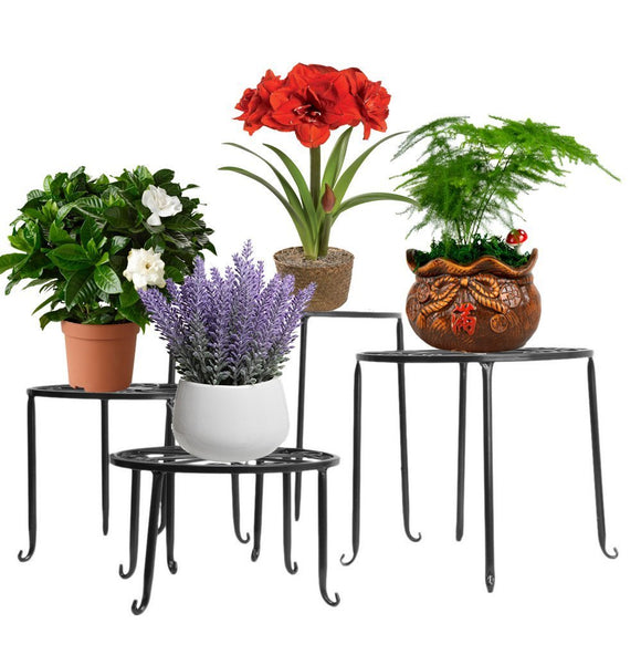AISHN Metal 4 in 1 Potted Plant Stand Floor Flower Pot Rack/Round Iron Plant Stands, Scroll Pattern (Black)