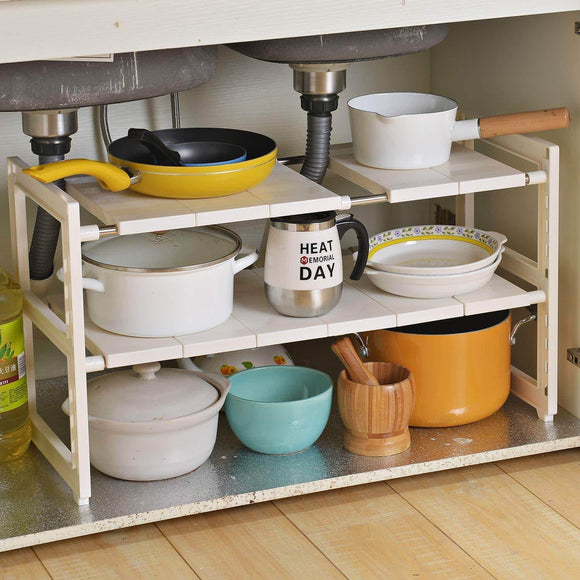 Buy now obor expandable under sink organizer 2 tier multifunctional storage rack with removable shelves and steel pipes for kitchen bathroom and garden