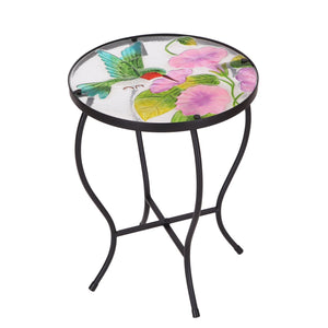 Adeco Round Side Table Plant Stand Flower Holder Accents Serving Snack Tea, Embossed Artistic Pattern Glass Top