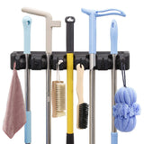 Featured hyrixdirect mop and broom holder wall mount heavy duty broom holder wall mounted broom organizer home garden garage storage rack 5 position with 6 hooks black