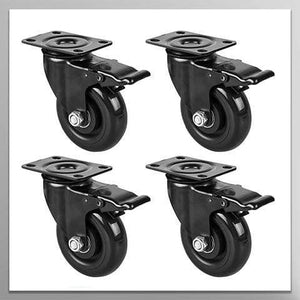 "4"" Swivel Plate Caster Wheels, Heavy Duty Metal Caster Wheels Lock the Top Plate and the Wheels Replacement for Industrial Trailer or Large Home Furniture (bearing 250lbs each, set of 4)"