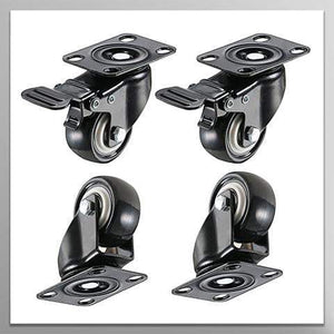 "4 Pack 2"" Heavy Duty Caster Wheels Polyurethane PU Swivel Casters with 360 Degree Top Plate 220lb Total Capacity for Set of 4 (2 with Brakes& 2 without) Black"
