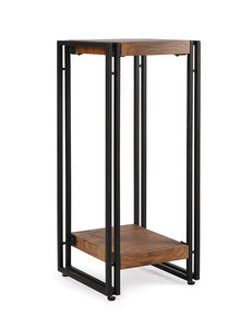 FIVEGIVEN Accent Side Table for Small Spaces End Table for Living Room/Bedroom Rustic Industrial Metal, Brown