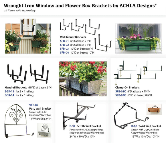 Achla Designs Window Flower Box Clamp-On Brackets, 8 inch, SFB-02C