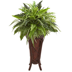 "32"" Mixed Greens and Fern Artificial Plant in Decorative Stand"