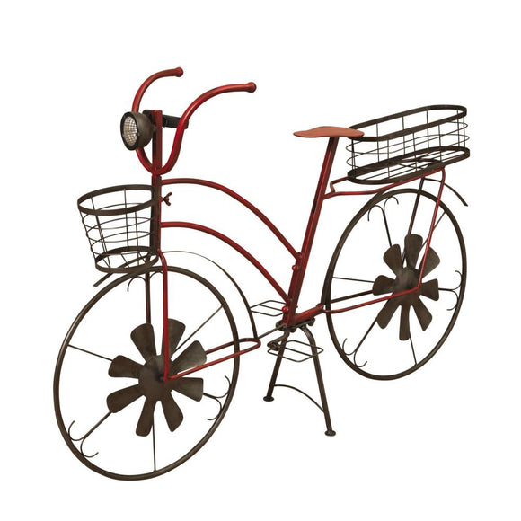 37-Inch Long Solar-Powered Metal Antique-Style Bicycle Plant Stand with Wind Spinner Spokes