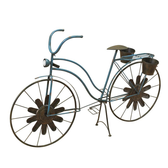 53-Inch Long Solar-Powered Metal Antique-Style Bicycle Plant Stand with Wind Spinner Spokes