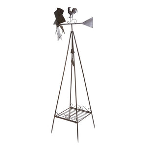 70-Inch Tall Silver Metal Windmill Yard Décor with Plant Stand