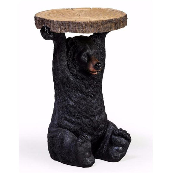 52cm Black Bear Trunk Slice Side Table