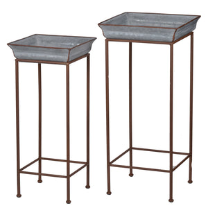 AB Home Set of 2 Square Shelburne Plant Stands in Gray Finish D42545