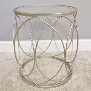 47cm Geometric Glass Topped Golden Side Table