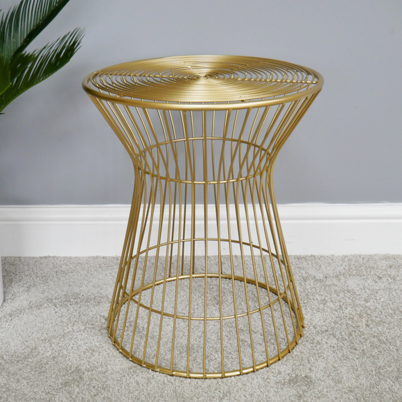 45cm Tall Gold Metal Side Table