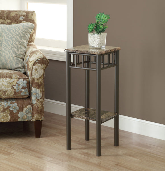 2 TIERED CAPPUCCINO MARBLE / BRONZE METAL ACCENT TABLE