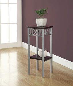 2 TIERED CAPPUCCINO / SILVER METAL ACCENT TABLE