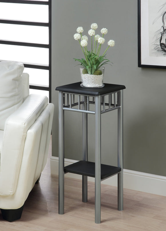 2 TIERED BLACK / SILVER METAL END TABLE