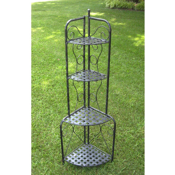 Indoor / Outdoor Folding Corner Bakers Rack 4-Shelf Lattice Plant Stand Antique Black