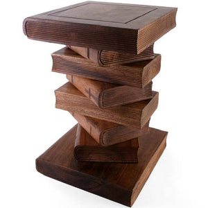51cm Hand Carved Book Design Table / Stool