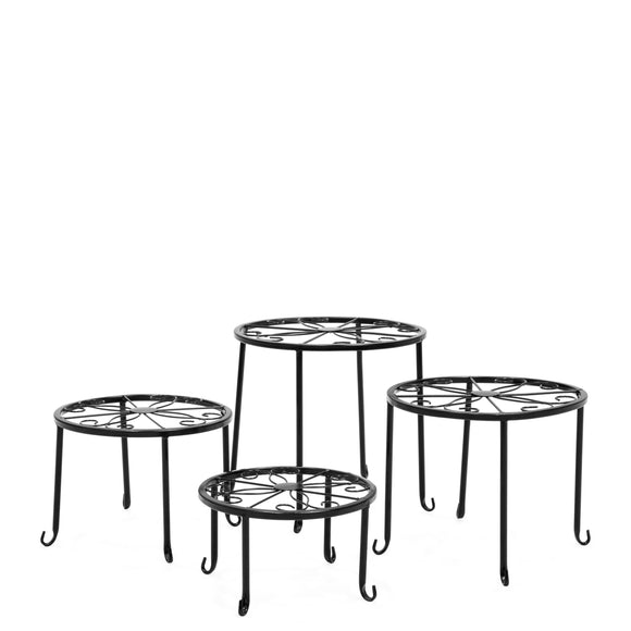 Set of 4 Indoor Outdoor Metal Nesting Plant Stands, Flower Pot Holders