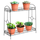 32in 2-Tier Metal Plant Stand Shelf