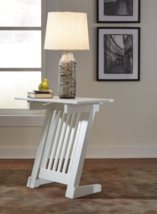 Brauni Casual White wood Chair Side End Table