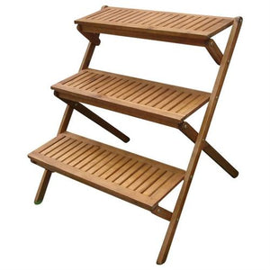 3-Tier Planter Stand in Eucalyptus Wood for Outdoor/Indoor Use