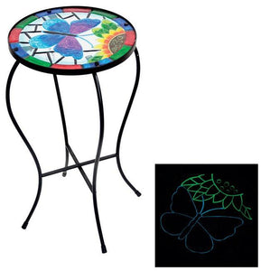 "Alpine KIY122A Glow in the Dark Multi-Colored Outdoor Plant Stand, Glass, 22"" H"
