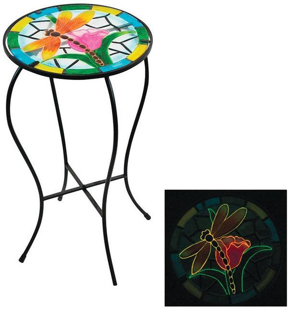 Alpine KIY124A Glow in the Dark Multi-Colored Outdoor Plant Stand, Glass, 22