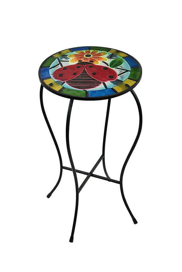 Alpine KIY128A Ladybug Glow In The Dark Plant Stand, Multi-Color