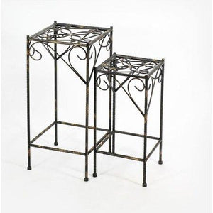 "21.06"",26.18"" CELTIC CLOVER SQUARE CAST-IRON PLANT STAND SET OF 2"